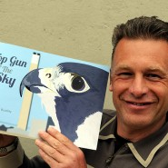 Chris Packham with my first book - Top Gun of the Sky